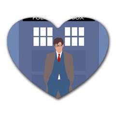 Tenth Doctor And His Tardis Heart Mousepads