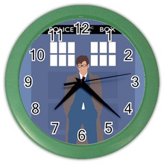 Tenth Doctor And His Tardis Color Wall Clocks
