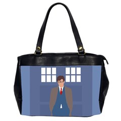 Tenth Doctor And His Tardis Office Handbags (2 Sides)  by Samandel