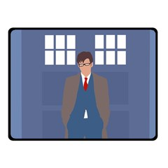 Tenth Doctor And His Tardis Fleece Blanket (small) by Samandel
