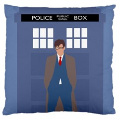Tenth Doctor And His Tardis Standard Flano Cushion Case (one Side)