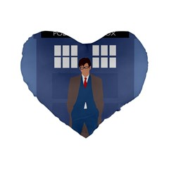 Tenth Doctor And His Tardis Standard 16  Premium Flano Heart Shape Cushions by Samandel