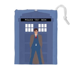 Tenth Doctor And His Tardis Drawstring Pouches (extra Large)