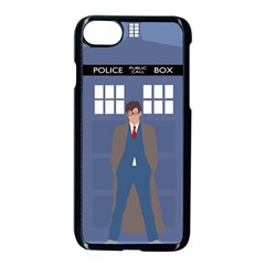 Tenth Doctor And His Tardis Apple Iphone 7 Seamless Case (black) by Samandel