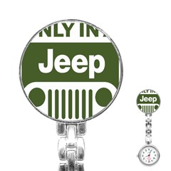 Only In A Jeep Logo Stainless Steel Nurses Watch