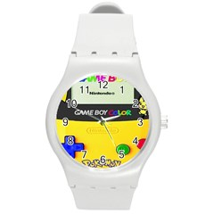 Game Boy Yellow Round Plastic Sport Watch (m) by Samandel
