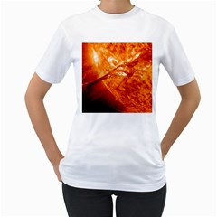 Spectacular Solar Prominence Women s T Shirt (white) (two Sided)