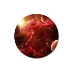 Space Red Magnet 3  (round)