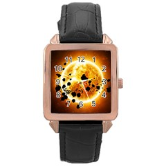 Sun Man Rose Gold Leather Watch