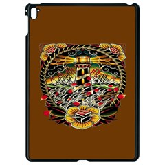 Tattoo Art Print Traditional Artwork Lighthouse Wave Apple Ipad Pro 9 7   Black Seamless Case
