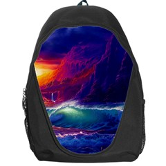 Sunset Orange Sky Dark Cloud Sea Waves Of The Sea, Rocky Mountains Art Backpack Bag by Sapixe