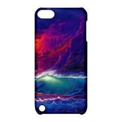 Sunset Orange Sky Dark Cloud Sea Waves Of The Sea, Rocky Mountains Art Apple Ipod Touch 5 Hardshell Case With Stand by Sapixe
