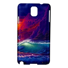 Sunset Orange Sky Dark Cloud Sea Waves Of The Sea, Rocky Mountains Art Samsung Galaxy Note 3 N9005 Hardshell Case by Sapixe