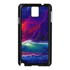 Sunset Orange Sky Dark Cloud Sea Waves Of The Sea, Rocky Mountains Art Samsung Galaxy Note 3 N9005 Case (black) by Sapixe