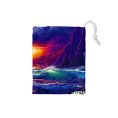 Sunset Orange Sky Dark Cloud Sea Waves Of The Sea, Rocky Mountains Art Drawstring Pouches (small)  by Sapixe