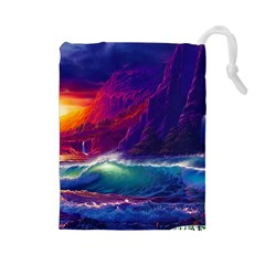 Sunset Orange Sky Dark Cloud Sea Waves Of The Sea, Rocky Mountains Art Drawstring Pouches (large)  by Sapixe