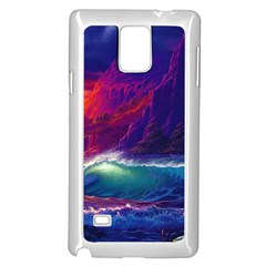 Sunset Orange Sky Dark Cloud Sea Waves Of The Sea, Rocky Mountains Art Samsung Galaxy Note 4 Case (white)