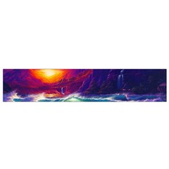 Sunset Orange Sky Dark Cloud Sea Waves Of The Sea, Rocky Mountains Art Small Flano Scarf