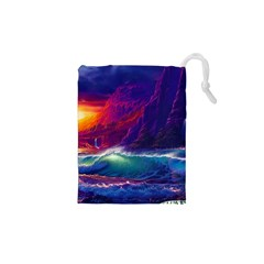 Sunset Orange Sky Dark Cloud Sea Waves Of The Sea, Rocky Mountains Art Drawstring Pouches (xs)  by Sapixe