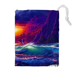 Sunset Orange Sky Dark Cloud Sea Waves Of The Sea, Rocky Mountains Art Drawstring Pouches (extra Large) by Sapixe