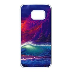 Sunset Orange Sky Dark Cloud Sea Waves Of The Sea, Rocky Mountains Art Samsung Galaxy S7 White Seamless Case by Sapixe