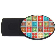 Tiles Pattern Background Colorful Usb Flash Drive Oval (4 Gb)