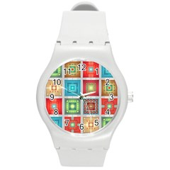 Tiles Pattern Background Colorful Round Plastic Sport Watch (m) by Sapixe