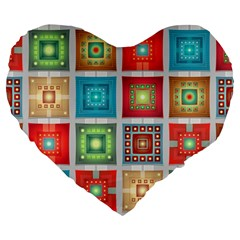 Tiles Pattern Background Colorful Large 19  Premium Flano Heart Shape Cushions