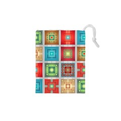 Tiles Pattern Background Colorful Drawstring Pouches (xs)  by Sapixe