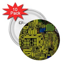 Technology Circuit Board 2 25  Buttons (10 Pack)  by Sapixe