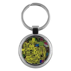 Technology Circuit Board Key Chains (round)  by Sapixe