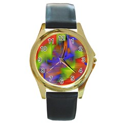 Texture Pattern Programming Processing Round Gold Metal Watch by Sapixe