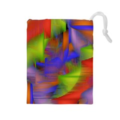 Texture Pattern Programming Processing Drawstring Pouches (large)  by Sapixe