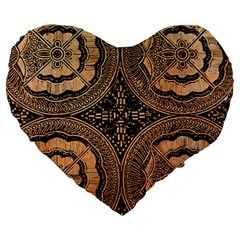 The Art Of Batik Printing Large 19  Premium Flano Heart Shape Cushions by Sapixe