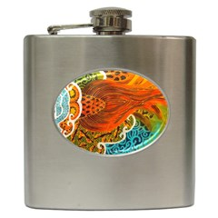 The Beautiful Of Art Indonesian Batik Pattern Hip Flask (6 Oz) by Sapixe