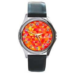 Triangle Tile Mosaic Pattern Round Metal Watch