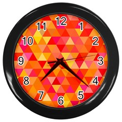 Triangle Tile Mosaic Pattern Wall Clocks (black) by Sapixe