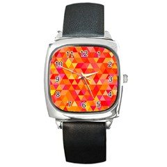 Triangle Tile Mosaic Pattern Square Metal Watch by Sapixe