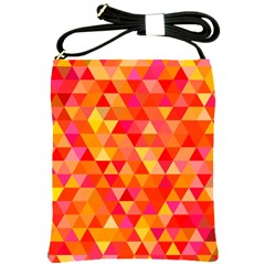 Triangle Tile Mosaic Pattern Shoulder Sling Bags by Sapixe