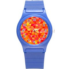 Triangle Tile Mosaic Pattern Round Plastic Sport Watch (s) by Sapixe