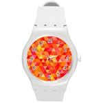Triangle Tile Mosaic Pattern Round Plastic Sport Watch (M) Front