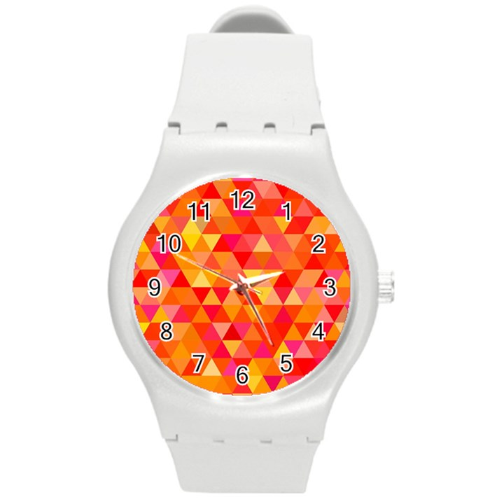 Triangle Tile Mosaic Pattern Round Plastic Sport Watch (M)