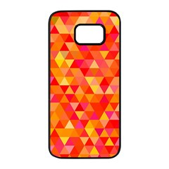 Triangle Tile Mosaic Pattern Samsung Galaxy S7 Edge Black Seamless Case by Sapixe