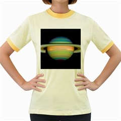 True Color Variety Of The Planet Saturn Women s Fitted Ringer T-shirts