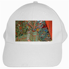 Traditional Korean Painted Paterns White Cap by Sapixe