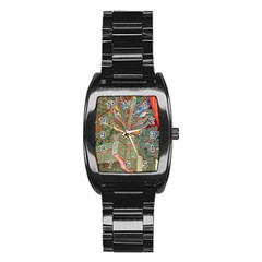 Traditional Korean Painted Paterns Stainless Steel Barrel Watch by Sapixe