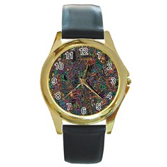 Trees Internet Multicolor Psychedelic Reddit Detailed Colors Round Gold Metal Watch by Sapixe