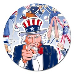 United States Of America Celebration Of Independence Day Uncle Sam Magnet 5  (round) by Sapixe