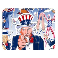 United States Of America Celebration Of Independence Day Uncle Sam Double Sided Flano Blanket (large)