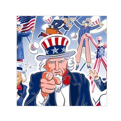 United States Of America Celebration Of Independence Day Uncle Sam Small Satin Scarf (square) by Sapixe